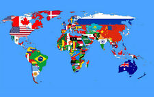 "World Map with Flags of all Nations Abstract Art CANVAS PRINT 24""X18"""