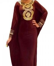 Dubai Farasha Kaftan Abaya maxi dress jalabiya  gold beadwork African Dress