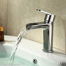 LOTUS CIRCULAR WATERFALL FAUCET ROUND LEVER BATHROOM BASIN MONO MIXER TAP