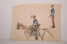 -dessin couleur, officier à cheval croquis militaires Adrien de Blois, v.1900