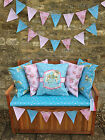 Hearts 100% WATERPROOF OUTDOOR PVC COATED GARDEN BENCH SEAT CUSHIONS & BUNTING