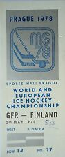TICKET Eishockey WM 5.5.1978 Deutschland - Finnland in Prag