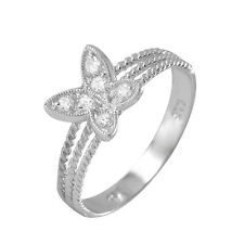 925 Sterling Silver ladies Butterfly Ring W/ diamonds//NEW DESIGN!! SZ 5-9