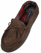 $80 CLUB ROOM Men's MOCCASIN SLIPPER Brown Fabric Upper INDOOR SHOE 8-9