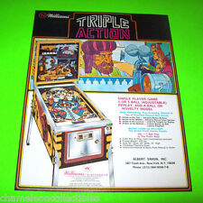 TRIPLE ACTION By WILLIAMS 1975 ORIGINAL NOS PINBALL MACHINE PROMO SALES FLYER