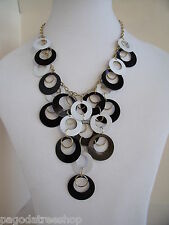 New 1960s Style Gold Necklace with Black and White Hoops