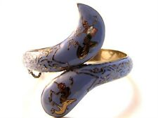 Vintage Siam Snake Sterling Silver Blue Niello Dancer Bracelet