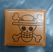 JP Anime One Piece Monkey D Luffy Pirate Skull Wallet Purse Cosplay PU Leather