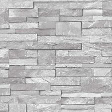 Grandeco Wallpaper - Realistic Stone / Brick Wall Effect - In Grey - A17202