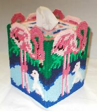 Flamingo Plastic Canvas Tissue Box Cover Topper Completed