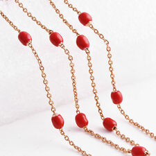 Artistic Korean jewelry Rose Gold Filled Red Beaded Link Wave Chain Necklace