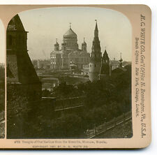 1901 Stereoview Cathedral of Christ the Savior from Kremlin, Moscow, Russia, HC