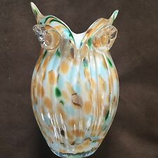 Beautiful Hand Made Glass Owl Vase. Murano Style Home Decor