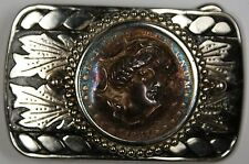 1887 Morgan Silver Dollar In Belt Buckle W/ Obverse Punched Out Nicely Toned