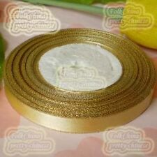 "17 Yards 12mm 1/2"" Golden Satin Ribbon Gold Edge Wedding Sewing Craft #87"