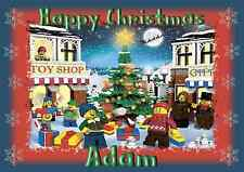 Lego A5 personalised Christmas card son daughter nephew grandson brother name