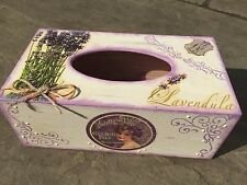 Handmade Shabby chic wooden decoupaged tissue box with lavender decor