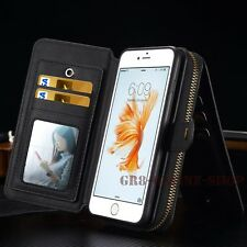Portable Magnetic Card Zipper Wallet Purse Pouch Case Cover For iPhone Samsung
