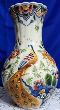 "AGED DELFT HANDPAINTED 12"" POLYCHROME PEACOCK VASE"