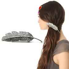 Chic Women Jewelry Hairpin Silver Feather Leaf Hair Clip Barrette Hair Accessory