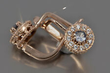 veax191 Russian rose Soviet pink USSR 14k gold earrings Rare & Unique!!!