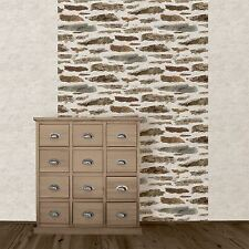 New Muriva - Rustic Brick Wall - Brown - Stone Wall Luxury Wallpaper 102559