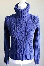 RALPH LAUREN Womens Cable Knit Royal Blue Turtleneck Size Small NEW 154$
