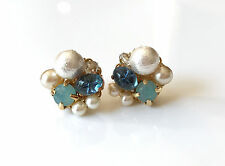 Vintage jewels stud Earring with opals Germany glass and cotton pearl ,opal swar