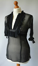 Ladies Karen Millen Black Sheer Top Size UK 8