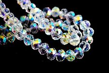 50Ps Half Clear AB Crystal Glass Faceted Rondelle Beads 6mm Spacer Finding Charm