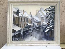 ancien tableau huile sur panneau 1950 Colmar Alsace canal neige hiver signe mr