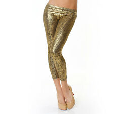 Sexy 7/8 Leggings Lack Metallic Hose Hochglanz Leggins Latex! 34,36,38 OVP Gold