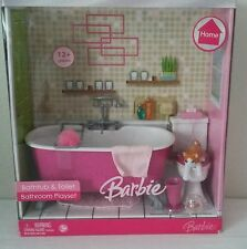 Mattel 2006 HOME Barbie Bathroom Playset Bathtub & Toilet w/ Kitten & Acc NIB