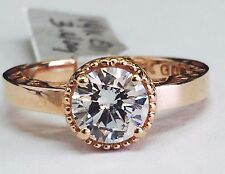 14K Rose Gold Cubic Zirconia Round Cut CZ Solitaire Filigree Engagement Ring