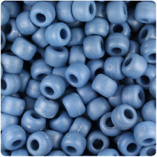 500 Denim Blue Matte 9x6mm Barrel Pony Beads Made in the USA by The Beadery