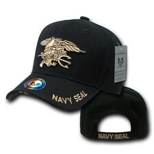 Black United States US Navy Seals Trident Seal Military Baseball Ball Cap Hat