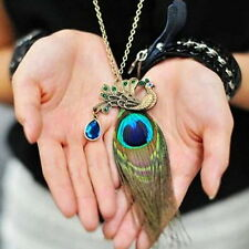 Women Charm Retro Peacock Feather Pendant Long Chain Vintage Sweater Necklace O