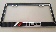 TRD-Toyota-license-plate-frame-chrome-3D-metal-carbon-fiber-details-chrome-text/