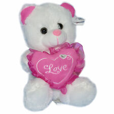"Valentine's 8"" Teddy Bear Plush Stuffed Animal Love Heart White Pink Oso D Felpa"