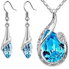 Kette + Ohrringe mit Swarovski® Elements Schmuckset Kristall Tropfen Blau Silber