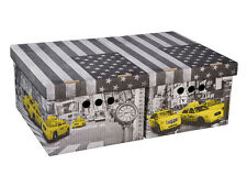 New 2 Storage Boxes with Lids in New York Grey with Yellow Taxi Cab fits A4 size