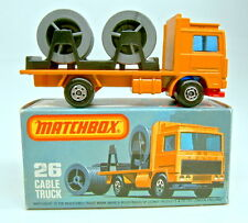 Matchbox SF Nr. 26D Volvo Cable Truck orange rote Bpl. gemischte Räder