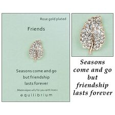 Equilibrium Rose Gold Plated & Diamonte Leaf FRIENDS Brooch Friendship Gift