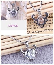 1Pc 925 Silver Distinct 12 Constellations Shining Crystal Pendant Fine Necklace