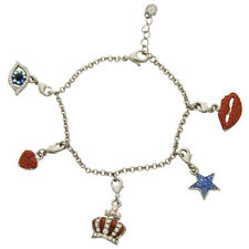 Butler and Wilson Crystal Lip Eye CrownStar Heart Charm Bracelet SilverTone SALE