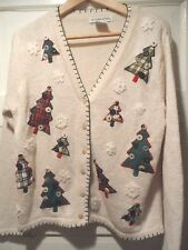 COUNTRY Christmas Sweater sz S - M, white/ivory, plaid trees lots of buttons ski