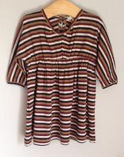 Caramel Baby & Child Brown Jersey Cotton Striped Dress Size 6 Months BNWOT