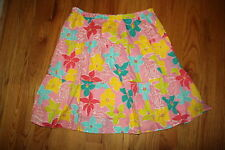 Lilly Pulitzer Pink Multi-Color Floral A-Line Tiered Cotton Skirt Large L