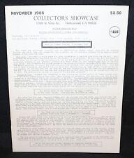 Collector's Showcase #118 Auction Catalog (FN/VF) November 1988