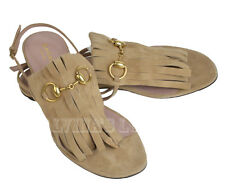 $525 GUCCI SHOES BECKY BEIGE SUEDE FRINGED FLAT THONG SANDAL HORSEBIT sz 37 / 7